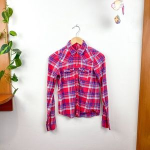 Hollister Long Sleeve Red Flannel Snap Shirt XS